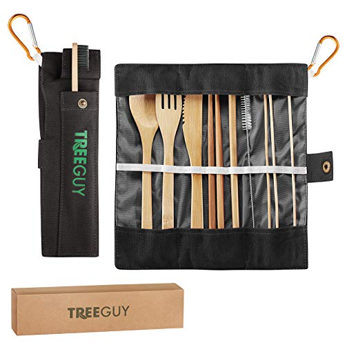 TreeGuy Bamboo Utensils Set (6 Available Colors) with Bamboo Toothbrush and toothpicks /Travel Cutlery (1 Pack, Black)