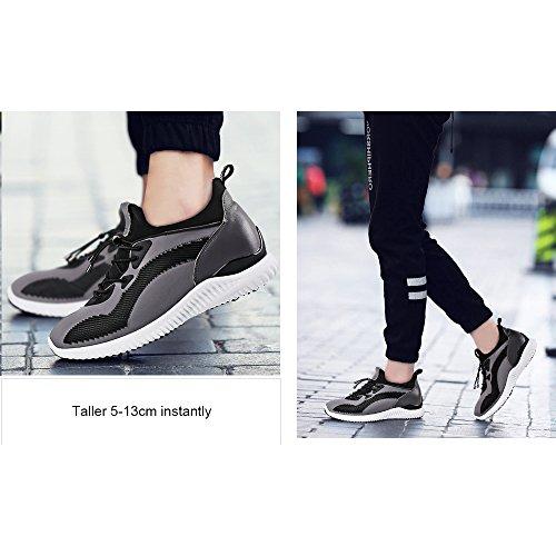CHAMARIPA Aufzugs-Turnschuhe Sport-Beiläufige Leichte Schuhe mit Versteckter anhebender Ferse für Man -7cm Taller-H71C62V012D Grau