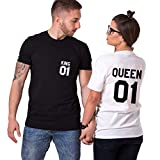 Couple Tshirt King Queen Shirts Sweet Tee Cotton Short Sleeves Anniversary Gift(BK-King-M+WH-Queen-S)