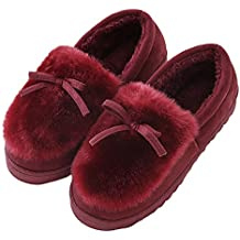 Women's Faux Fur Lined Suede House Slippers,Ladies Anti-Slip Winter Indoor / Outdoor Shoes