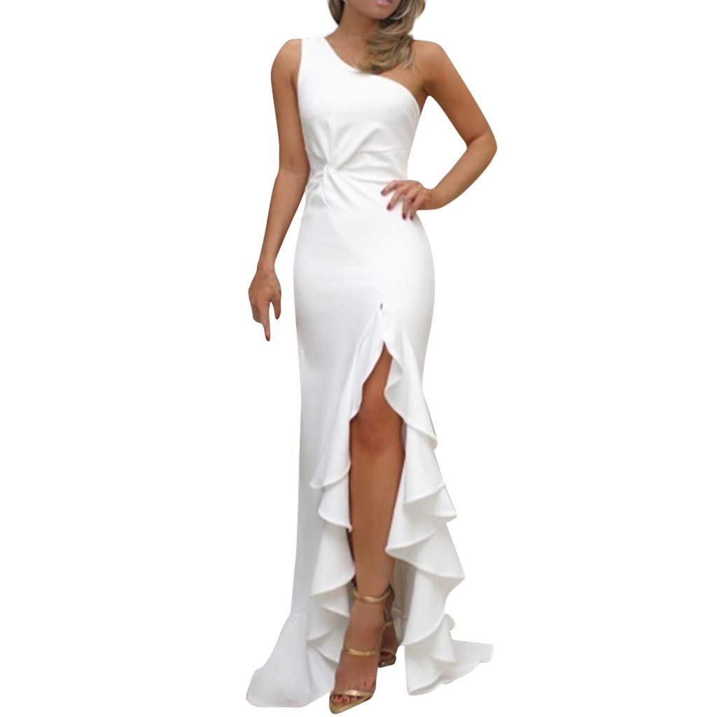 Plus Size Dress Shirts for Women,Womens One Shoulder Ruched Ruffle Formal Evening DressSlim Maxi Dresses,Women's Mother of The Bride Dresses,White,M