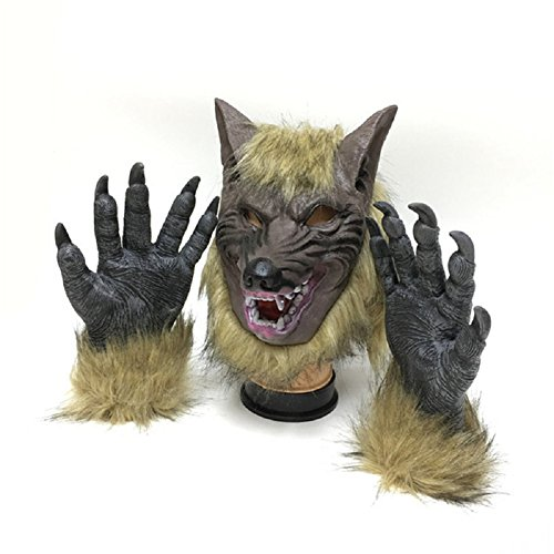 YASHALY Wolf Masquerade Masks with Wolf Golves, Men Women Scary Ghost Full Face Mask for Halloween Costume Cosplay