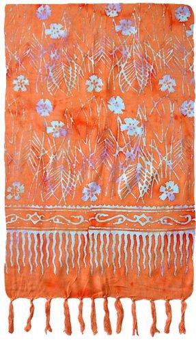 Flower & Stems Batik Sarong (Orange)