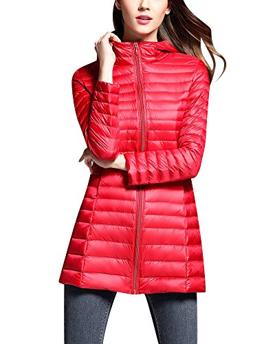 ZhuiKun Hooded Down Jacket Women Warm Long Sections Lightweight Packable Down Coat Red