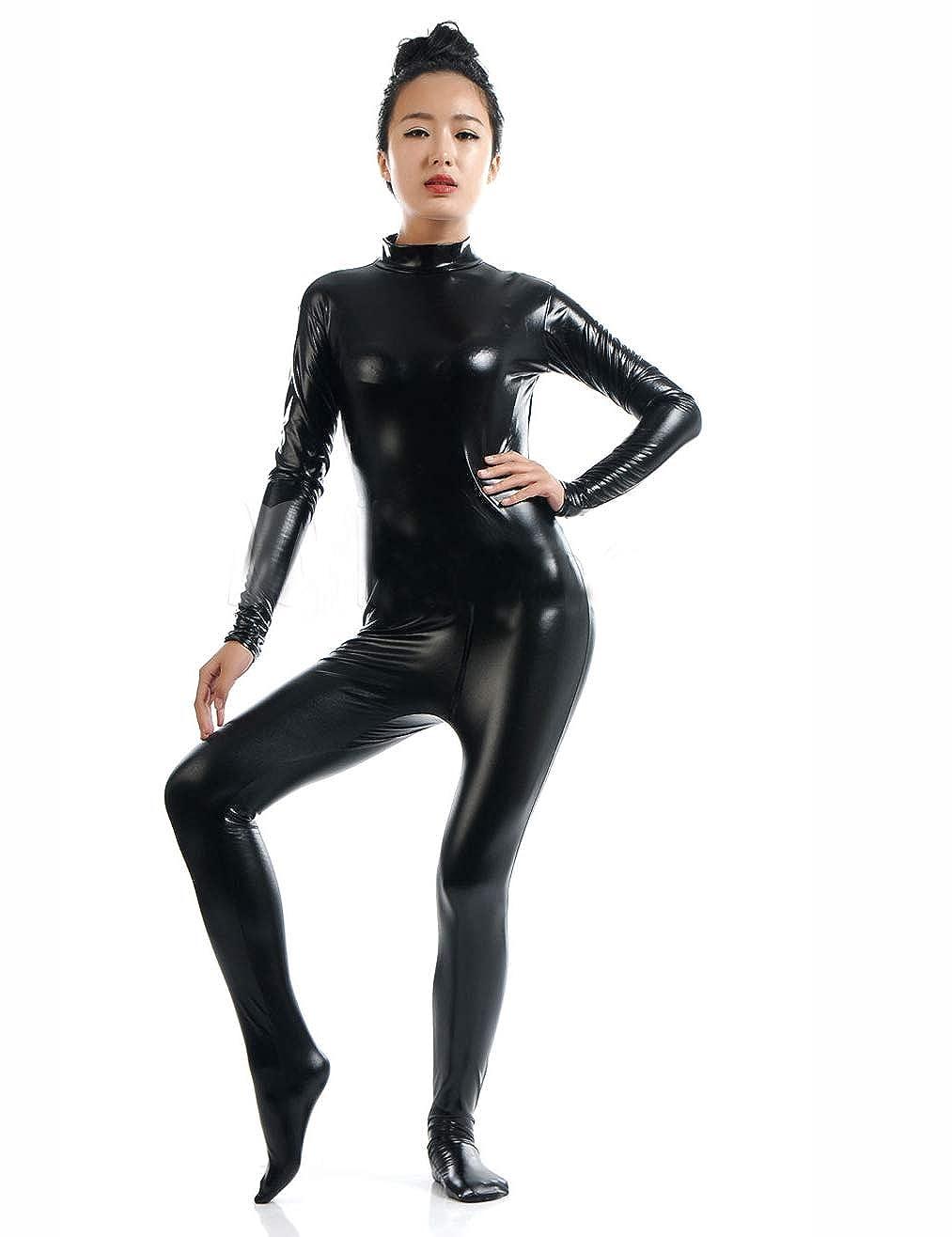 FASHION QUEEN Women's Wet Look Catsuit Plus Size Catsuit Bodysuit