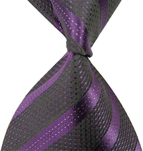 Allbebe Classic Striped Purple Black Jacquard Woven 100% Silk Men's Tie Necktie