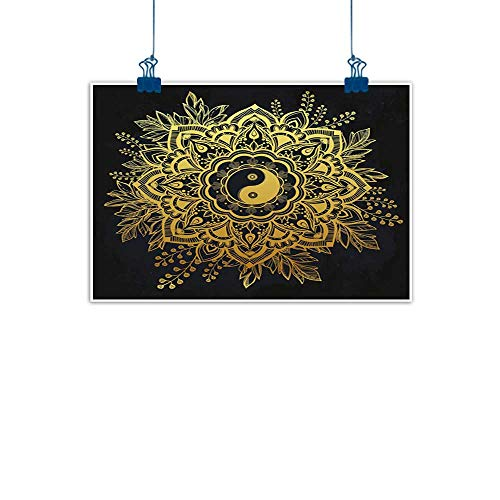 Sunset glow Artwork Office Home Decoration Gold Mandala,Indian Garden Flower in Crown of Leaves Yin and Yang Symbol Twigs Blooms,Dark Blue Gold for Living Room Bedroom 36
