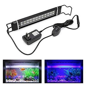 DOCEAN Aquarium Lighting Fish Tank Light Hood with Extendable Brackets Blue and White