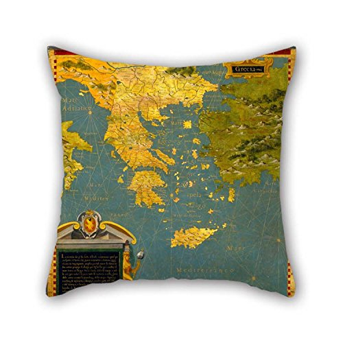 (18 X 18 Inches / 45 By 45 Cm Oil Painting Stefano Bonsignori - Hellenic Peninsula- Greece, Albania, Bosnia And Bulgaria Pillow Shams Both Sides Is Fit For Father Bench Play Room Car Seat Office Be)