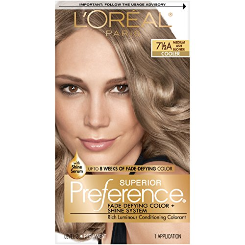 L'Oréal Paris Superior Preference Fade-Defying + Shine Permanent Hair Color, 7.5A Medium Ash Blonde, 1 kit Hair Dye
