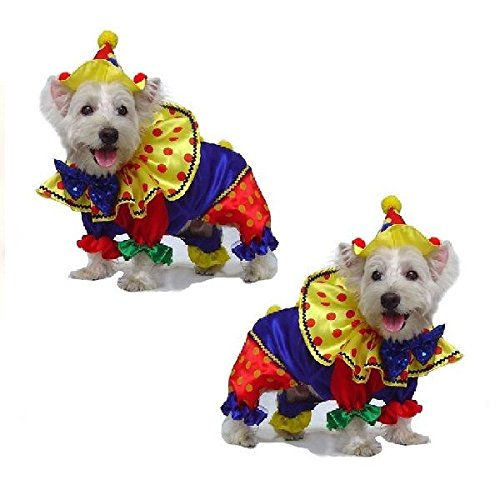 Dog Costume SHINY CLOWN COSTUMES Dogs As Colorful Circus Clowns(Size 3)