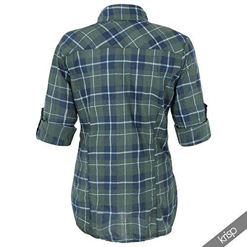 Camisa Mujer Cuadros Manga Ajustable Algodón Bolsillos Nuevo Verde