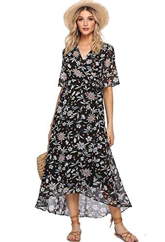 Chiffon Floral (Milumia Women's Boho Deep V Neck Floral Chiffon Wrap Split Long Dress Small Floral-Black)