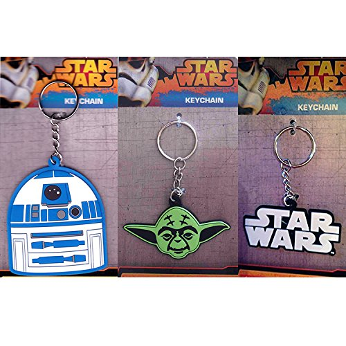 Total 3 ct Star Wars Rubber Keychains for Birthday Gifts or Party Favors (Star Wars text, Yoda, R2-D2))