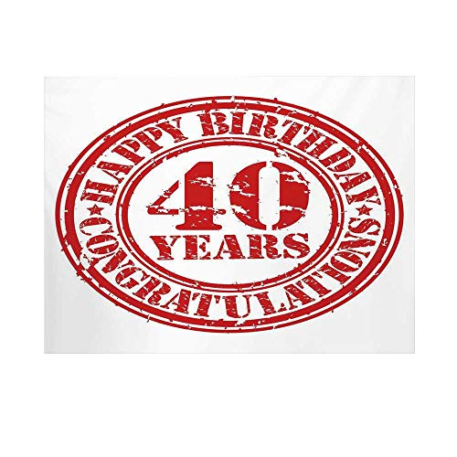 40th Birthday Decorations Photography Background,Dated Rubber Stamp with Number Forty Congratulation Grungy Look Backdrop for Studio,15x10ft ()