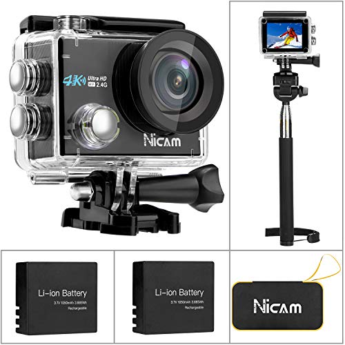 Nicam WiFi Sports Action Camera, 4K 12MP Ultra HD Waterproof DV Camcorder, 170 Degree Wide Angle with 2 x 1050 mAh Batteries, Selfie Stick and Portable Carry Bag