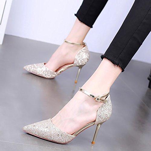 HBDLH Spikes 9Cm Tacones Altos Tacones Banquetes Zapatos De Mujer Verano Sexy Sola Palabra Hebilla Wild Zapatos Zapatos. Golden