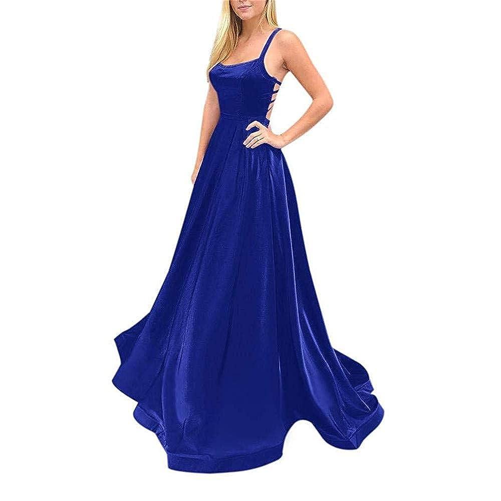 Royal bluee Sulidi Womens Sexy Spaghetti Straps CrissCross Back Satin Prom Dresses with Pocket L017