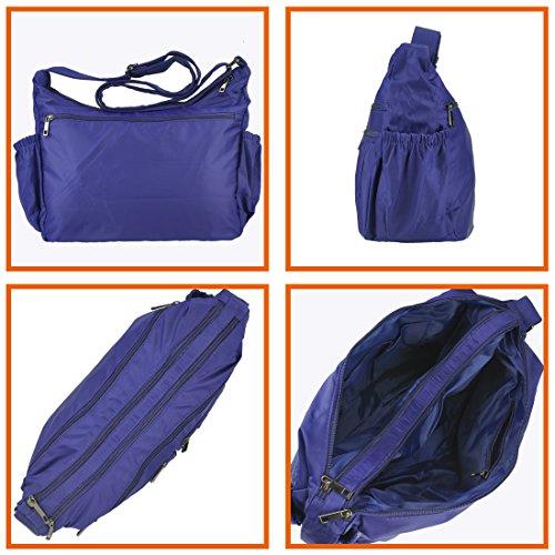 large Purse Volcanic Shoulder Waterproof Multi Nylon Rock Travel Women Corss Handbags for Bag purple Pocket body 8981 blue UUTCB1x