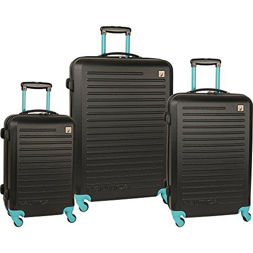 Nautica 3 Piece Hardside Spinner Luggage Set, Black/Baltic - California Set Luggage Expandable