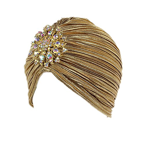 BAOBAO Womens Girls Crystal Flower Ruffle Turban Hat Chemo Headwrap Stretch Indian -