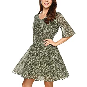 HOTOUCH Women's Speaker Sleeves High Waist Floral Print Beach Mini Dress Green S