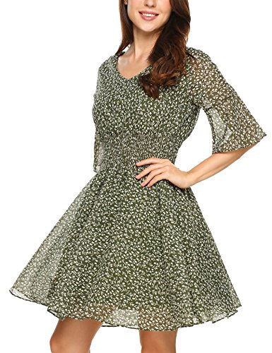 Hotouch Women's Casual Abstract Print Short Skater V Neck Chiffon Dress Green L