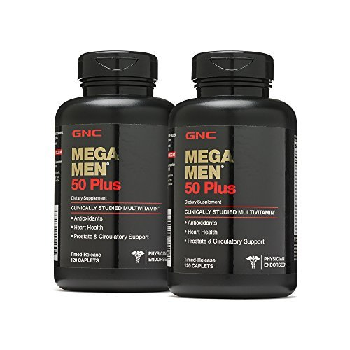 GNC Mega Men 50 Plus, 120 Caplets 2 Pack