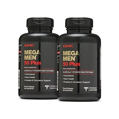 GNC Mega Men 50 Plus, 2 Pack, 120 Caplets 60 Servings in Each Bottle