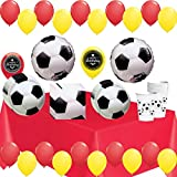 World Cup Soccer Ball Party Supplies Decorations Balloons Plates Napkins Cups and Table Cover Theme Bundle For (Spain)