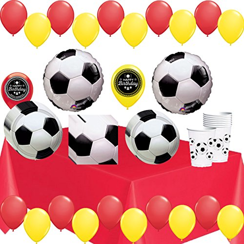 World Cup Soccer Ball Party Supplies Decorations Balloons Plates Napkins Cups and Table Cover Theme Bundle For (Spain) by Combined Brands