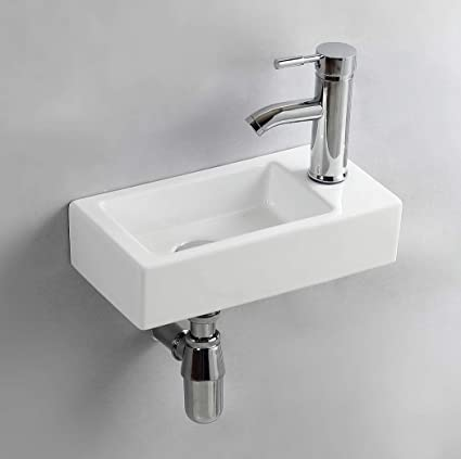 Gimify Lave Main Suspendu Lavabo Mural Pour Wc Right Hand 370 185 90mm