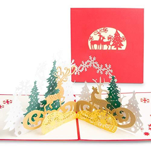 Blasoul 3D Christmas Cards Handmade Xmas Cards 3D Holiday Cards 3D Pop Up Cards Christmas Cards Thank You Cards with…