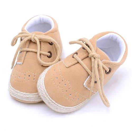 Tefamore Los zapatos infantiles recién nacidos del pesebre de los muchachos de las muchachas calzan los zapatos antideslizantes suaves de las zapatillas Caqui