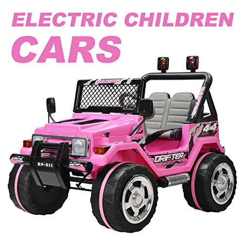 Murtisol Kid's Ride on Car Ride on Truck Power Wheels 12V 2 Speeds with Remote Control/ Leather Seat/ UV Lights Pink