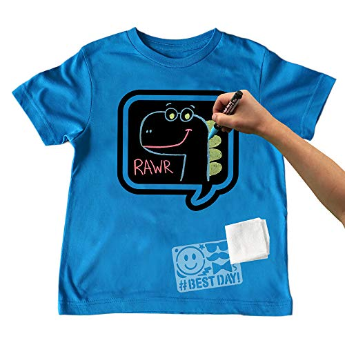 Chalk of the Town Chalkboard T-Shirt Kit for Kids - Short Sleeve Brilliant Blue Speech Bubble w/3 Markers and Stencil (X-Small) from Chalk of the Town