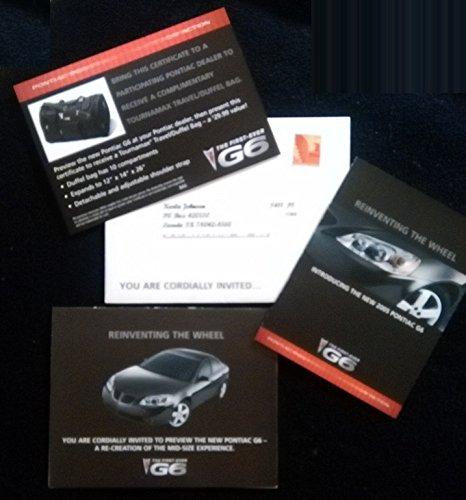2005 PONTIAC G6 SEDAN VINTAGE COLOR SALES BROCHURE & INVITATION PLUS DUFFEL BAG OFFER MAILING PACK - GREAT ORIGINAL !!