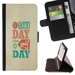 BullDog Case - FOR/Apple Iphone 4 / 4S / - / good day modern text poster beige teal /- Monedero de cuero de la PU Llevar cubierta de la caja con el ID Credit Card Slots Flip funda de cuer