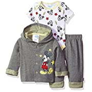Disney Baby Boys' Mickey Mouse 3 Piece Hoodie, Bodysuit Or T-Shirt, Pant Set, Medium Heather Gray, 0-3 Months