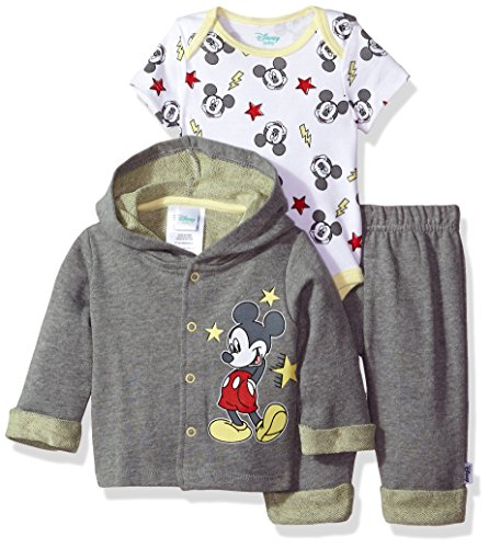 Disney Baby Boys' Mickey Mouse 3 Piece Hoodie, Bodysuit OR T-Shirt, Pant Set, Medium Heather Gray, 3-6 Months