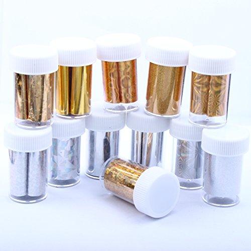 ECBASKET 10 Pcs Sparkling Nail Foils Gold Silver Mix Groups Nail Art Transfer Foil Wraps