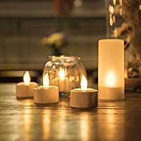 12 Rechargeable LED Flickering Tea Lights EXPOWER Flameless Candles 12 Frost