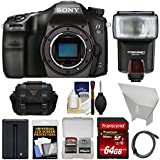 Sony Alpha A68 Digital SLR Camera Body with 64GB Card + Battery + Case + Flash + Reflector + Kit