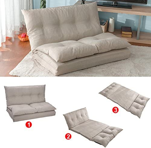 Floor Sofa Adjustable Lazy Sofa Bed, Foldable Mattress Futon Couch Bed with 2 Pollows Beige