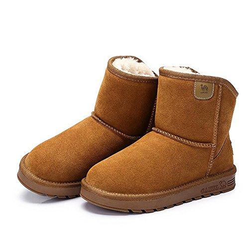 Stivali Da Neve Donna Cammello Con Cammello Caldo In Pelliccia