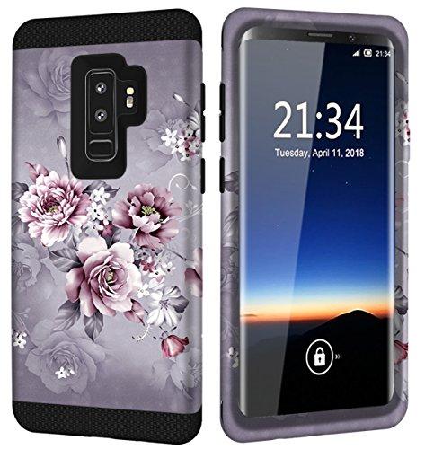 Galaxy S9 Plus Case w/Unique Floral Design, SM-G965 Case, Hocase Sturdy 3-Piece Heavy Duty Shockproof Hard Armor Cover Rubber Protective Case for Samsung Galaxy S9 Plus 2018 - Light Purple Flowers