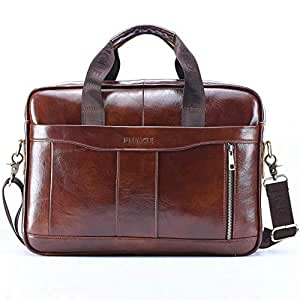 Womdee Men's Genuine Leather Crossbody Bag, Large-capacity Handbag For Travel, Shoulder Detachable Messenger Business Bag For MacBook Laptop