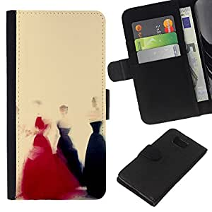 KingStore / Leather Etui en cuir / Samsung ALPHA G850 / Vestido Negro Rojo Amarillo Moda Arte