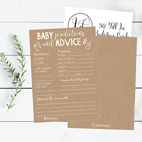 50 Rustic Advice and Prediction Cards for Baby Shower Game, New Mom & Dad Card or Mommy & Daddy To Be, For Girl or Boy Babies, New Parent Message Advice Book, Fun Gender Neutral Shower Party Favors by Hadley Designs (Image #2)