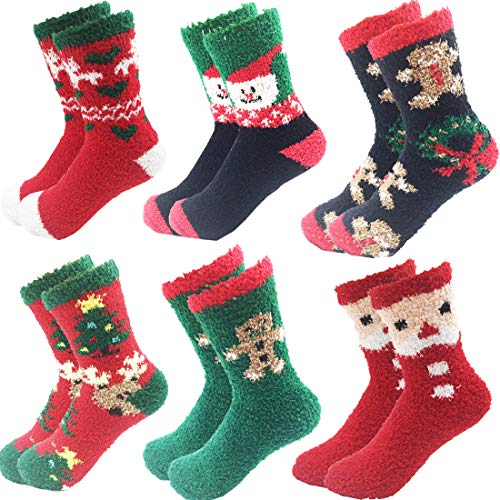 - 6 Pairs Adult Christmas Holiday Socks Warm Winter Cozy Socks (One size, E)